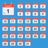 Vlakke kalender August Icon Kalender op de muur Vector illustratie Stock Afbeelding