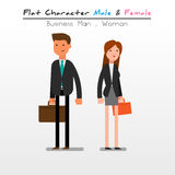 Vlakke Karakter Bedrijfsman, Vrouw Royalty-vrije Stock Afbeeldingen
