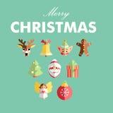 Vlakke Kerstmispictogrammen Stock Fotografie