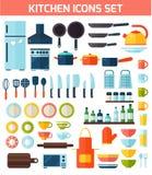 Vlakke keuken en kokende pictogrammen Stock Afbeeldingen