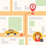 Vlakke kleurenillustratie van een kaart met een hoogste mening met taxipictogrammen en een passagiersetiket de gestormde route va stock illustratie