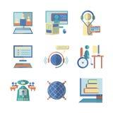 Vlakke kleurenpictogrammen voor e-onderwijs Stock Afbeelding