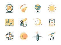 Vlakke kleurenpictogrammen voor ruimte Stock Afbeelding
