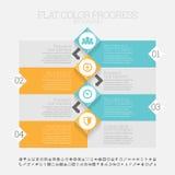 Vlakke Kleurenvooruitgang Infographic Stock Afbeeldingen