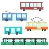 Vlakke kleurrijke openbaar vervoerreeks royalty-vrije illustratie