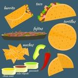 Vlakke kleurrijke traditionele Mexicaanse voedselreeks royalty-vrije illustratie