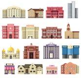 Vlakke kleurrijke vector geplaatste stadsgebouwen Pictogram achtergrondconceptontwerp Architectuurbouw: gerechtsgebouw, huis Royalty-vrije Stock Fotografie