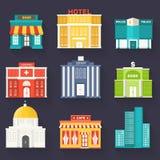 Vlakke kleurrijke vector sity geplaatste gebouwen Pictogram achtergrondconceptontwerp emplate voor website en mobiel toestel Stock Fotografie