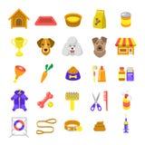 Vlakke kleurrijke vectordie het Webpictogrammen van de hondzorg op wit worden geïsoleerd Stock Foto's