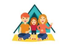 Vlakke kleurrijke vectorillustratie van familie stock illustratie