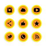 Vlakke knoopontwerpen van camera, als, boodschappersvogel, telefoonrecei Royalty-vrije Stock Afbeelding
