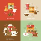 Vlakke koffiepictogrammen Stock Afbeeldingen