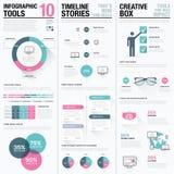 Vlakke lange schaduw roze en blauwe creatieve infographic vectorreeks Stock Foto