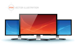 Vlakke lcd TVmonitor, gedetailleerde vector Stock Afbeeldingen