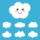 Vlakke leuke de wolkenkarakter van het ontwerpbeeldverhaal en wolkenreeks, inzameling op blauwe achtergrond Royalty-vrije Stock Afbeelding