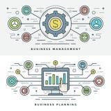 Vlakke lijn Bedrijfseconomie en Planningsconcepten Vectorillustratie Royalty-vrije Stock Foto