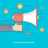 Vlakke lijn Digitale Marketing Concepten Vectorillustratie Stock Afbeeldingen