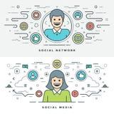 Vlakke lijn Sociale Media en de Vectorillustratie van het Netwerkconcept Stock Afbeeldingen