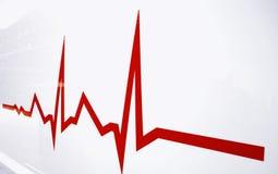 Vlakke lijn waakzaam op hart stock afbeeldingen