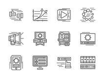 Vlakke lijnmedia geplaatste pictogrammen Stock Fotografie