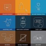 Vlakke lijnpictogrammen bij het winkelen, elektronische handel, m-handel - concept ve Royalty-vrije Stock Foto's