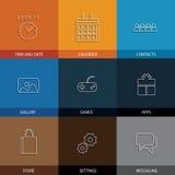 Vlakke lijnpictogrammen voor mobiel of smartphone - conceptenvector Stock Foto's