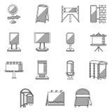 Vlakke lijnpictogrammen voor openlucht reclame Stock Fotografie