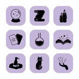 Vlakke magische pictogrammen Stock Foto's