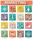 Vlakke Marketing Pictogrammen, Kleurrijke versie Royalty-vrije Stock Foto