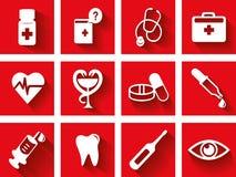 Vlakke medische pictogramreeks royalty-vrije illustratie