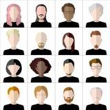 Vlakke Mensenpictogrammen Reeks modieuze mensenpictogrammen  Stock Fotografie
