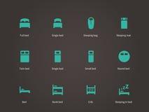 Vlakke meubilair en bed geplaatste pictogrammen Stock Afbeelding