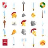 Vlakke middeleeuwse pictogrammen 2 Royalty-vrije Stock Afbeeldingen