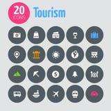 Vlakke minimalistic toerismepictogrammen op donkergrijs Stock Foto