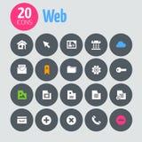 Vlakke minimalistic Webpictogrammen op donkergrijze cirkels Stock Foto's