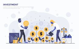 Vlakke Moderne Conceptenillustratie - Investering stock illustratie