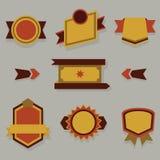 Vlakke moderne geplaatste kentekens, etiketten en linten Royalty-vrije Stock Foto