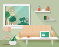 Vlakke moderne ontwerp vectorillustratie van woonkamer Royalty-vrije Stock Foto