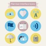 Vlakke moderne pictogrammen voor gebruikersinterface 1 Stock Afbeelding