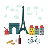 Vlakke modieuze vectorillustratie voor Parijs, Frankrijk Royalty-vrije Stock Afbeeldingen