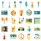 Vlakke muziekpictogrammen Stock Foto's