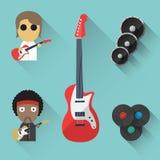Vlakke Muziekvoorwerpen Stock Afbeelding