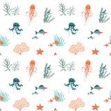 Vlakke naadloze het patroonachtergrond van Marine Life Het onderwaterdierenwild stock illustratie