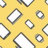 Vlakke naadloze het patroonachtergrond van ontwerp elektronische apparaten Stock Foto