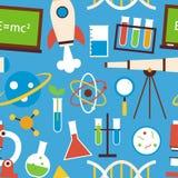 Vlakke Naadloze van het Patroonwetenschap en Onderwijs Voorwerpen over Blauw stock illustratie