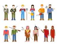 Vlakke natiemensen: militair, landbouwer, redneck, Indische cowboy, stock illustratie