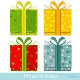 Vlakke nieuwe jaar gift-doos Royalty-vrije Stock Foto