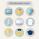 Vlakke onderwijspictogrammen Royalty-vrije Stock Afbeeldingen