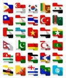 Vlakke Ontwerp Aziatische Golvende Vlaggen 2 Royalty-vrije Stock Fotografie