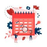 Vlakke ontwerp bedrijfskalender met gebeurtenissen, herinneringen en planning stock illustratie